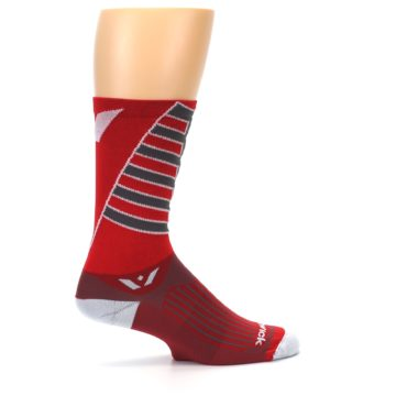 Image of Red Gray Vision Stripe Men's Tall Crew Athletic Socks (side-1-24)