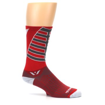Image of Red Gray Vision Stripe Men's Tall Crew Athletic Socks (side-1-25)
