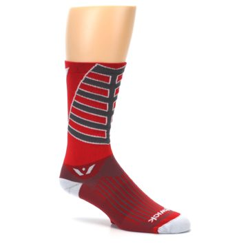 Image of Red Gray Vision Stripe Men's Tall Crew Athletic Socks (side-1-26)