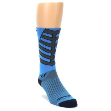 Image of Blue Gray Vision Stripe Men's Tall Crew Athletic Socks (side-1-front-02)
