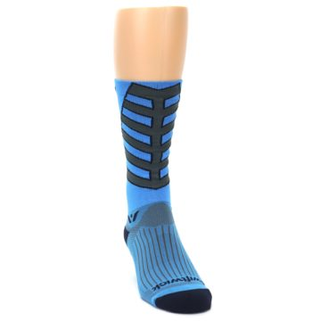 Image of Blue Gray Vision Stripe Men's Tall Crew Athletic Socks (side-1-front-03)