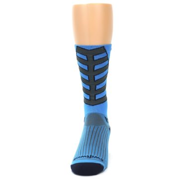 Image of Blue Gray Vision Stripe Men's Tall Crew Athletic Socks (front-05)