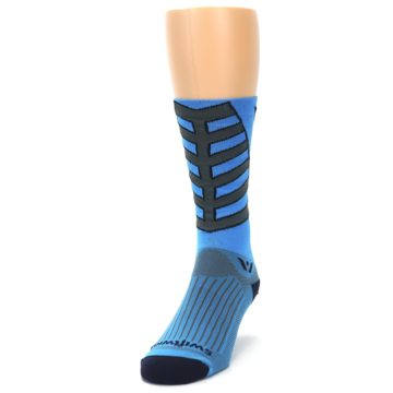Image of Blue Gray Vision Stripe Men's Tall Crew Athletic Socks (side-2-front-06)