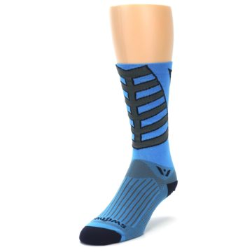 Image of Blue Gray Vision Stripe Men's Tall Crew Athletic Socks (side-2-front-07)