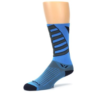 Image of Blue Gray Vision Stripe Men's Tall Crew Athletic Socks (side-2-09)
