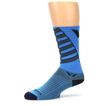 Image of Blue Gray Vision Stripe Men's Tall Crew Athletic Socks (side-2-10)