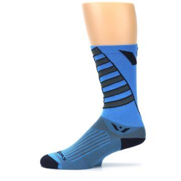 Image of Blue Gray Vision Stripe Men's Tall Crew Athletic Socks (side-2-11)
