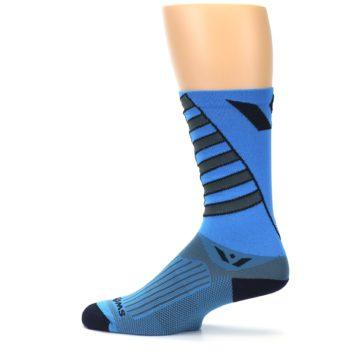 Image of Blue Gray Vision Stripe Men's Tall Crew Athletic Socks (side-2-12)