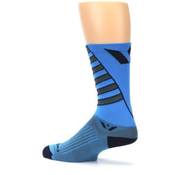 Image of Blue Gray Vision Stripe Men's Tall Crew Athletic Socks (side-2-13)