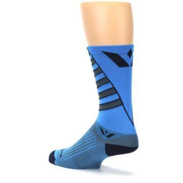 Image of Blue Gray Vision Stripe Men's Tall Crew Athletic Socks (side-2-back-14)