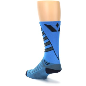 Image of Blue Gray Vision Stripe Men's Tall Crew Athletic Socks (side-2-back-15)