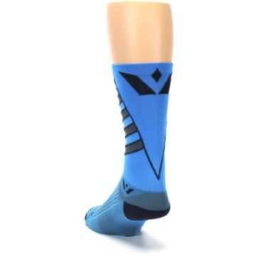 Image of Blue Gray Vision Stripe Men's Tall Crew Athletic Socks (side-2-back-16)