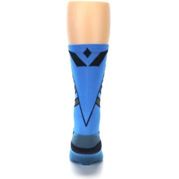 Image of Blue Gray Vision Stripe Men's Tall Crew Athletic Socks (back-18)