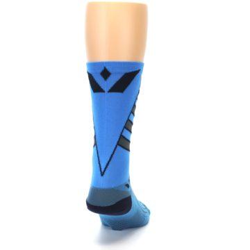 Image of Blue Gray Vision Stripe Men's Tall Crew Athletic Socks (back-19)