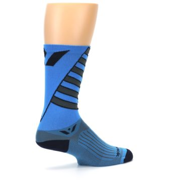 Image of Blue Gray Vision Stripe Men's Tall Crew Athletic Socks (side-1-23)