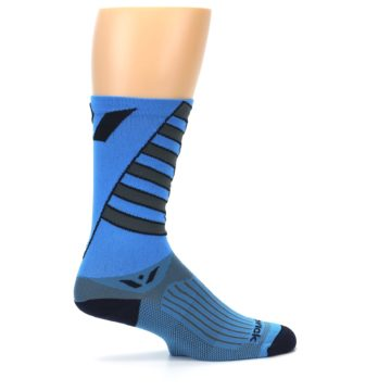Image of Blue Gray Vision Stripe Men's Tall Crew Athletic Socks (side-1-24)