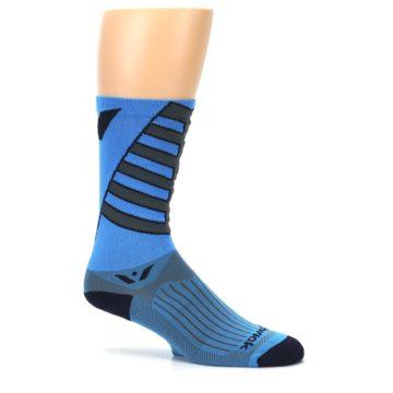 Image of Blue Gray Vision Stripe Men's Tall Crew Athletic Socks (side-1-25)