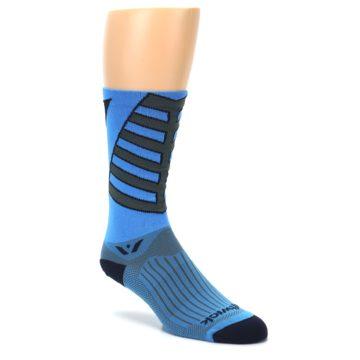Image of Blue Gray Vision Stripe Men's Tall Crew Athletic Socks (side-1-27)