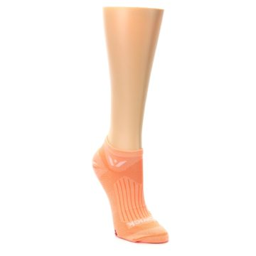 Image of Peach Solid Aspire Zero Women's No-Show Athletic Socks (side-1-front-02)