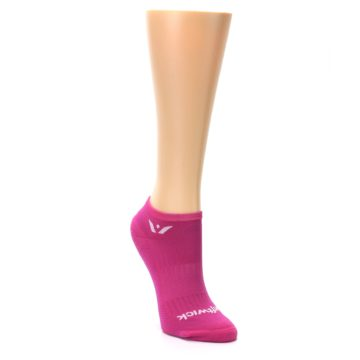 Image of Pink Solid Aspire Zero Women's No-Show Athletic Socks (side-1-front-02)