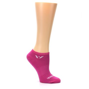 Image of Pink Solid Aspire Zero Women's No-Show Athletic Socks (side-1-26)