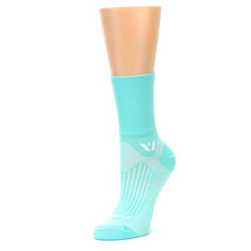 Image of Mint Solid Women's Crew Athletic Socks (side-2-09)