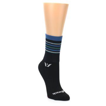 Image of Black Blue Stripe Women's Crew Athletic Socks (side-1-front-02)