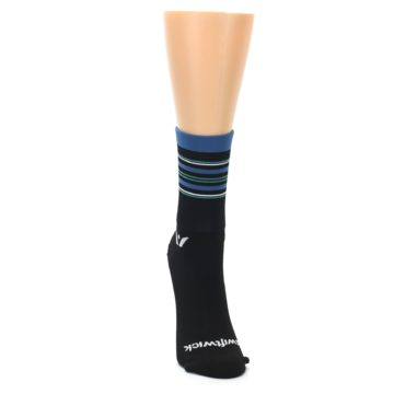 Image of Black Blue Stripe Women's Crew Athletic Socks (front-04)