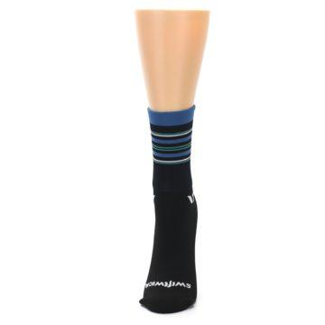 Image of Black Blue Stripe Women's Crew Athletic Socks (side-2-front-06)