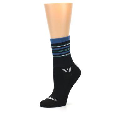 Image of Black Blue Stripe Women's Crew Athletic Socks (side-2-10)