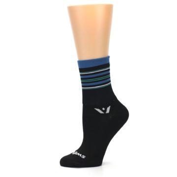 Image of Black Blue Stripe Women's Crew Athletic Socks (side-2-11)