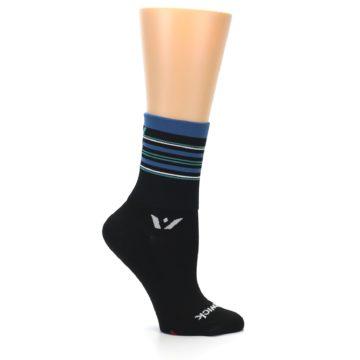 Image of Black Blue Stripe Women's Crew Athletic Socks (side-1-25)
