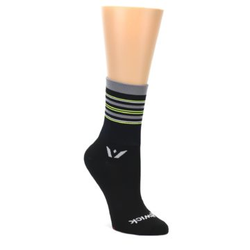 Image of Black Gray Neon Stripe Women's Crew Athletic Socks (side-1-front-01)