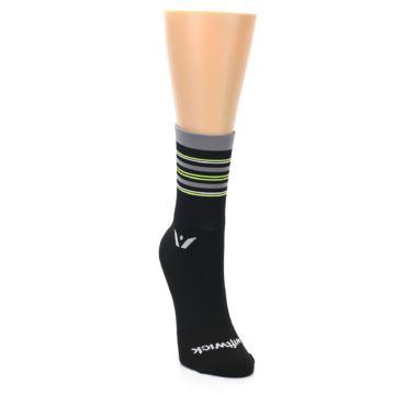 Image of Black Gray Neon Stripe Women's Crew Athletic Socks (side-1-front-03)