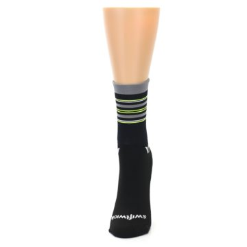 Image of Black Gray Neon Stripe Women's Crew Athletic Socks (side-2-front-06)