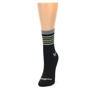 Image of Black Gray Neon Stripe Women's Crew Athletic Socks (side-2-front-07)