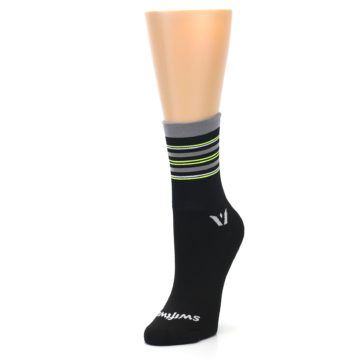 Image of Black Gray Neon Stripe Women's Crew Athletic Socks (side-2-front-08)