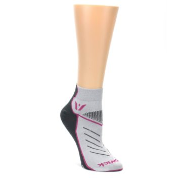 MEDIUM-Gray-Pink-Vibe-Womens-Ankle-Athletic-Socks-Swiftwick