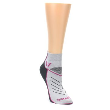 Image of Gray Pink Vibe Women's Ankle Athletic Socks (side-1-front-02)