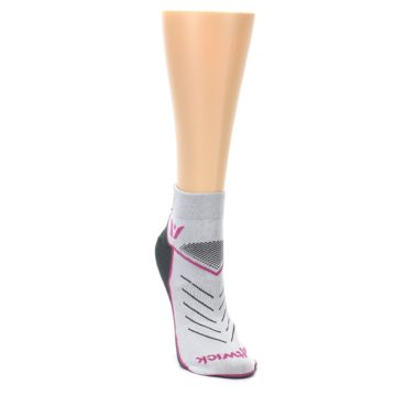 Image of Gray Pink Vibe Women's Ankle Athletic Socks (side-1-front-03)