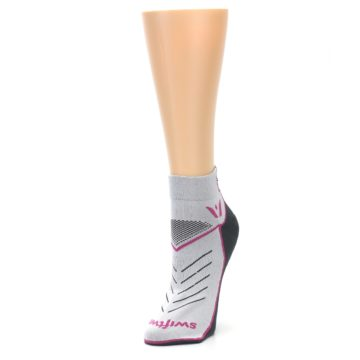 Image of Gray Pink Vibe Women's Ankle Athletic Socks (side-2-front-08)