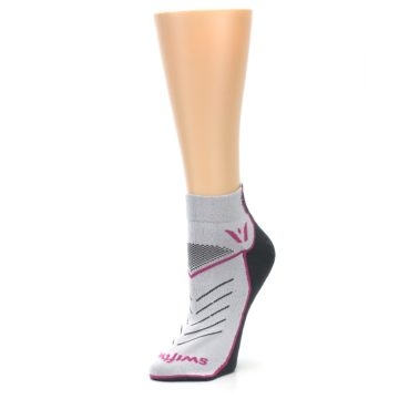 Image of Gray Pink Vibe Women's Ankle Athletic Socks (side-2-09)