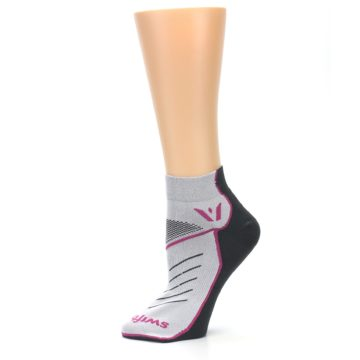 Image of Gray Pink Vibe Women's Ankle Athletic Socks (side-2-11)