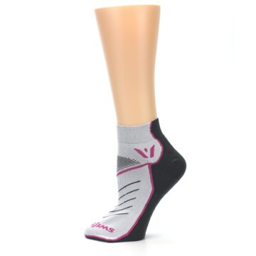 Image of Gray Pink Vibe Women's Ankle Athletic Socks (side-2-12)