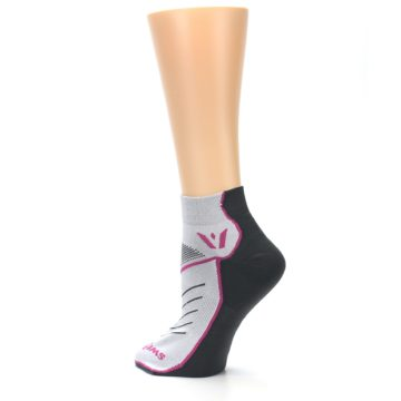 Image of Gray Pink Vibe Women's Ankle Athletic Socks (side-2-back-14)
