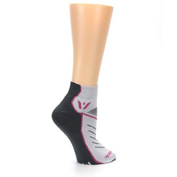 Image of Gray Pink Vibe Women's Ankle Athletic Socks (side-1-24)