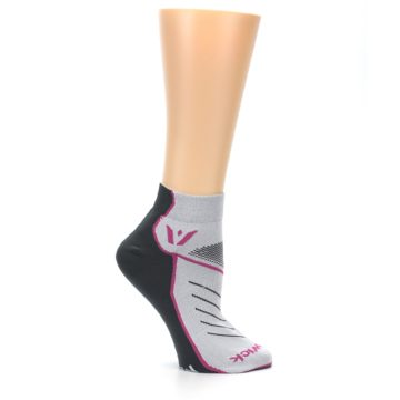 Image of Gray Pink Vibe Women's Ankle Athletic Socks (side-1-25)