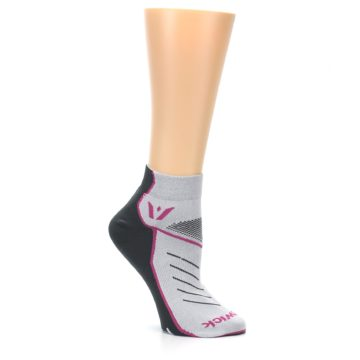 Image of Gray Pink Vibe Women's Ankle Athletic Socks (side-1-26)