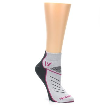 Image of Gray Pink Vibe Women's Ankle Athletic Socks (side-1-27)