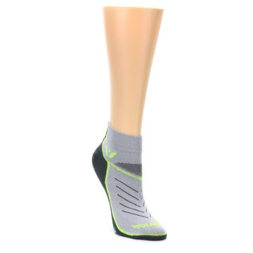 Image of Gray Lime Vibe Women's Ankle Athletic Socks (side-1-front-02)